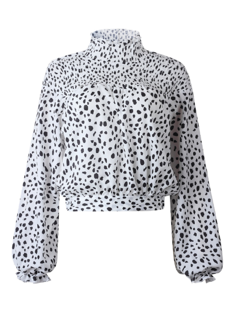 'Monique' Leopard Print High Neck Blouse