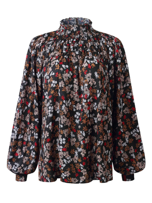 'Hiba' Floral High Neck Blouse (3 Colors)