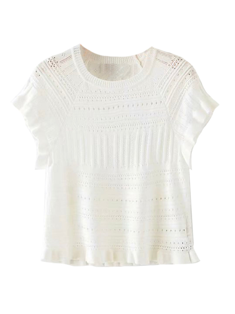 'Sammy' Openwork Knit Ruffled Top (2 Colors)