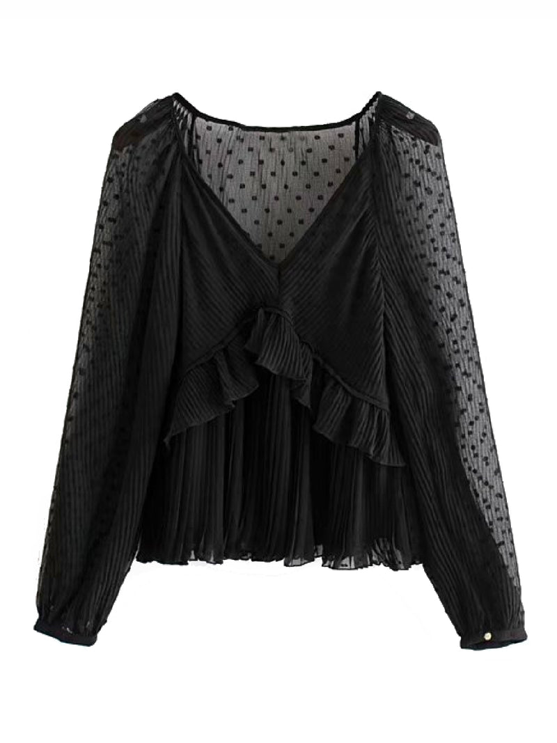 'Ayeesha' Polka Dot Chiffon Blouse (2 Colors)