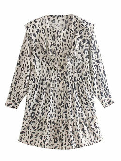 'Ash' Leopard Print Ruffled Mini Dress