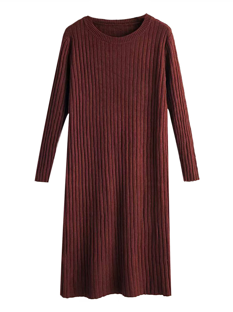 'Odara' Crewneck Ribbed Knit Dress (3 Colors)