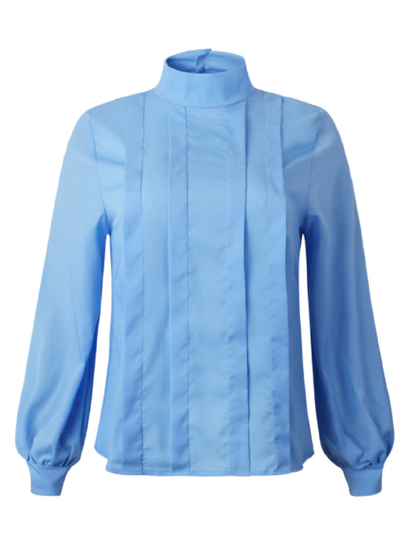 'Malie' High Neck Poplin Blouse (2 Colors)