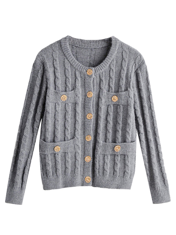 'Hisle' Cable Knit Buttoned Cardigan (3 Colors)