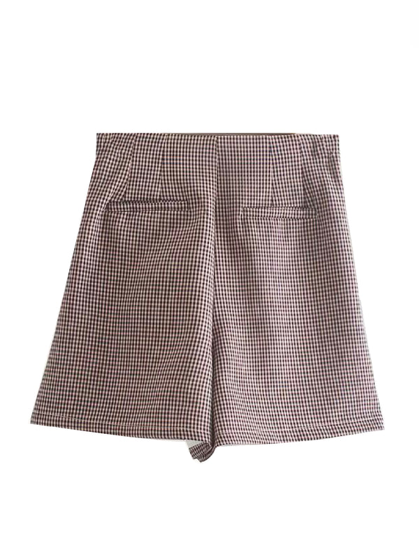 'Ulrika' Checked High Waist Shorts