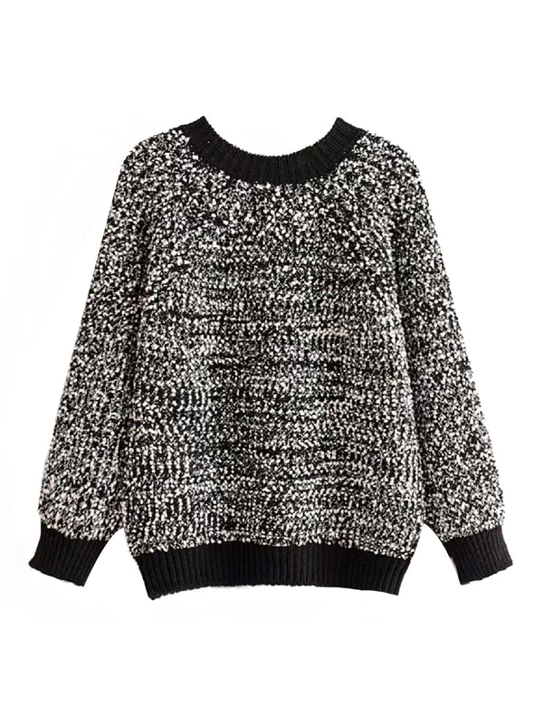 'Ivona' Mixed Knit Crewneck Sweater (3 Colors)