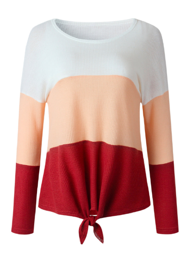 'Ivette' Color Block Tied Front Top (3 Colors)