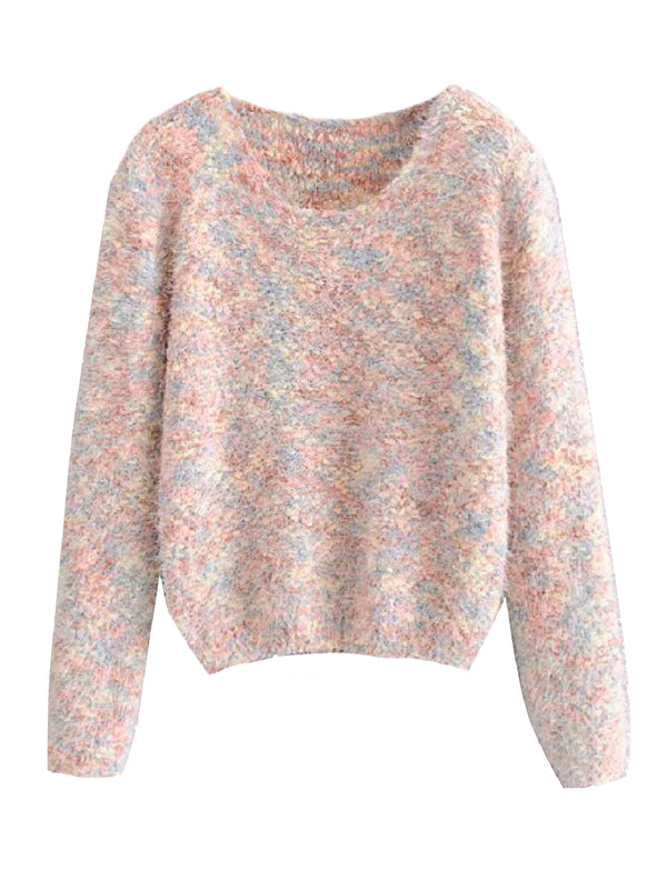 'Kasandra' Mixed Knit Fuzzy Sweater (2 Colors)