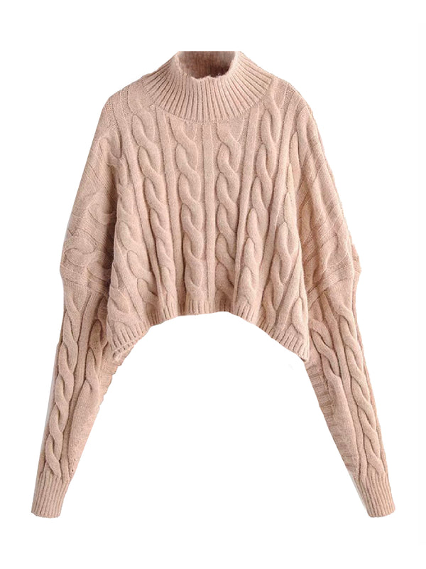 'Jamis' Mock Neck Cropped Sweater (2 Colors)