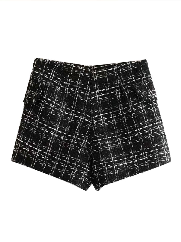 'Belle' Tweed Buttoned Shorts