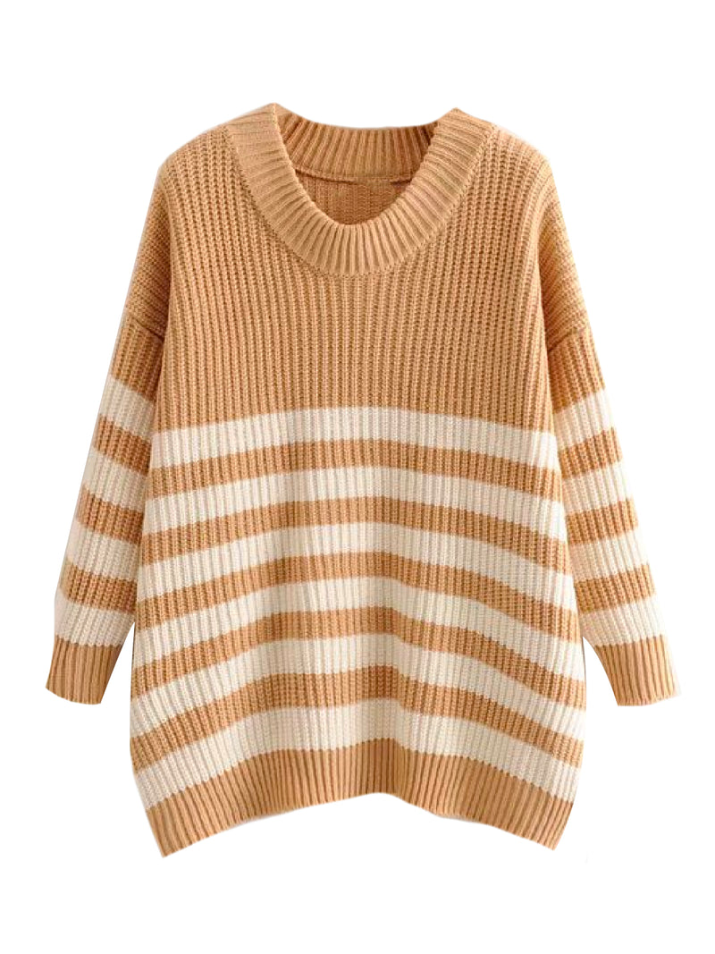 'Gracia' Striped Knitted Sweater (7 Colors)
