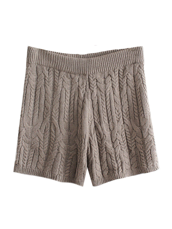 'Martial' Cable Knit Lounge Shorts (2 Colors)