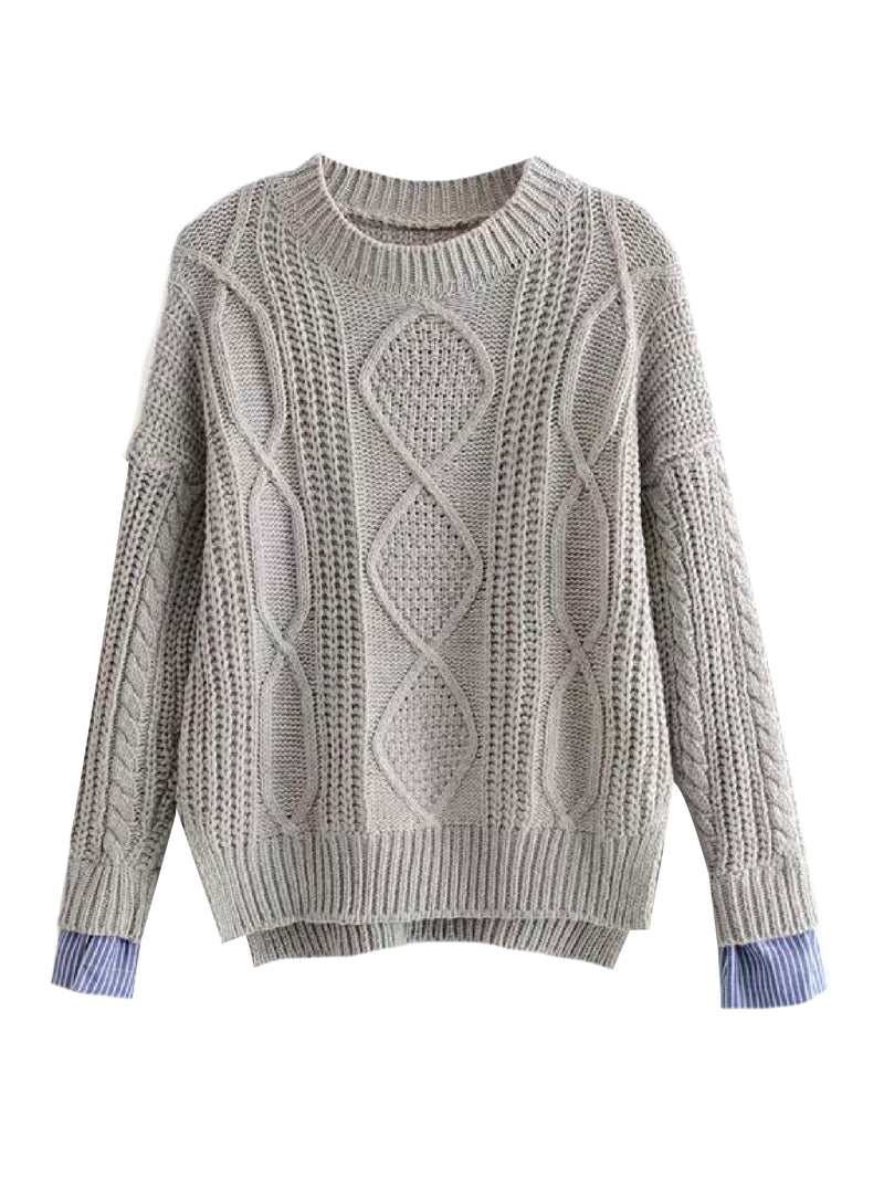 'Cecily' Mock Shirt Cable Knit Sweater (4 Colors)