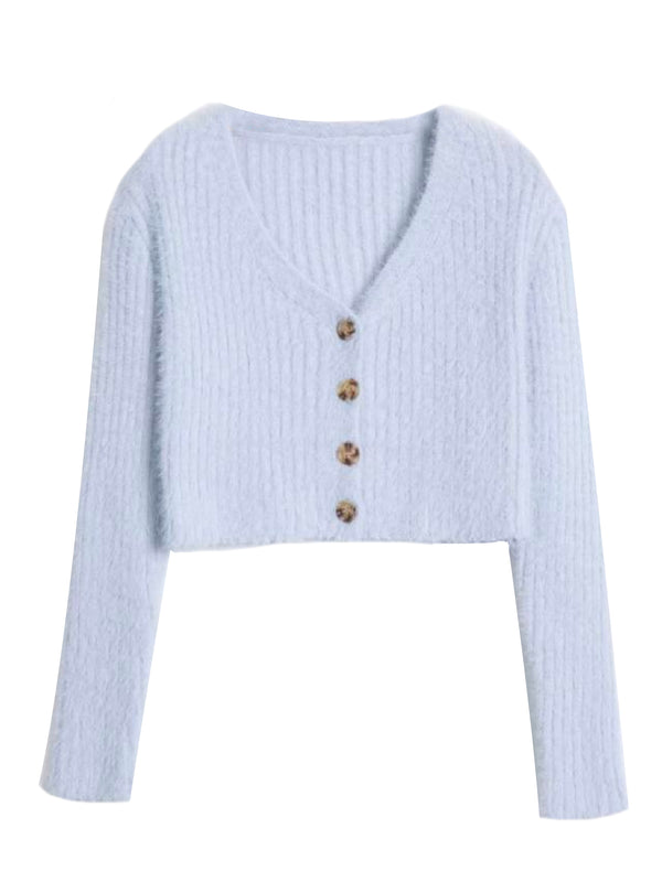 'Ressie' Fluffy Knitted Crop Cardigan (3 Colors)