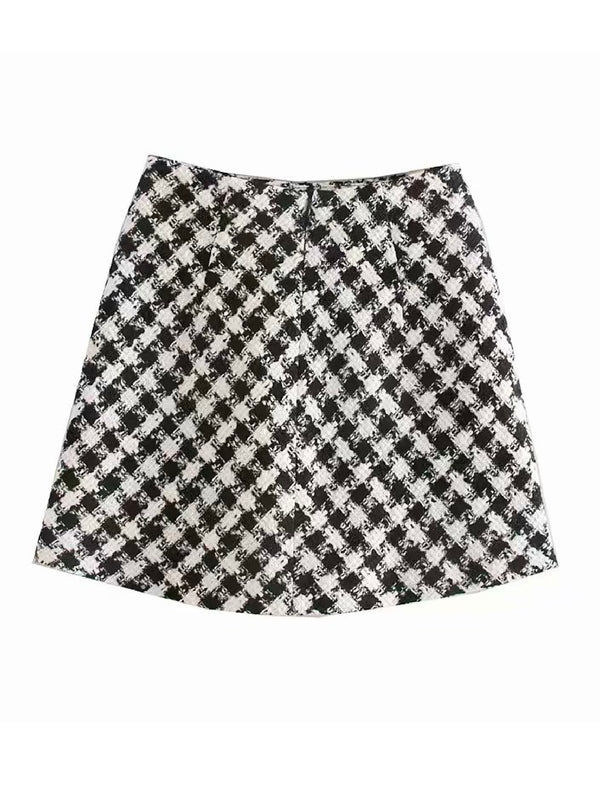 'Katalin' Checked Tweed Mini Skirt
