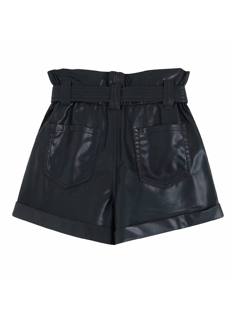 'Akie' Faux Leather Paper Bag Shorts