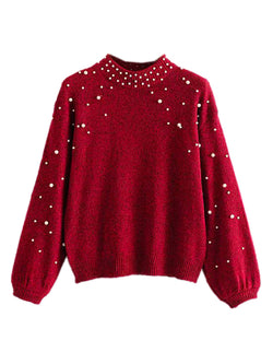 'Sabah' Pearl Studded Mock Neck Sweater (2 Colors)