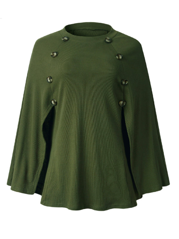 'Nabila' Buttoned Cape Sweater (3 Colors)
