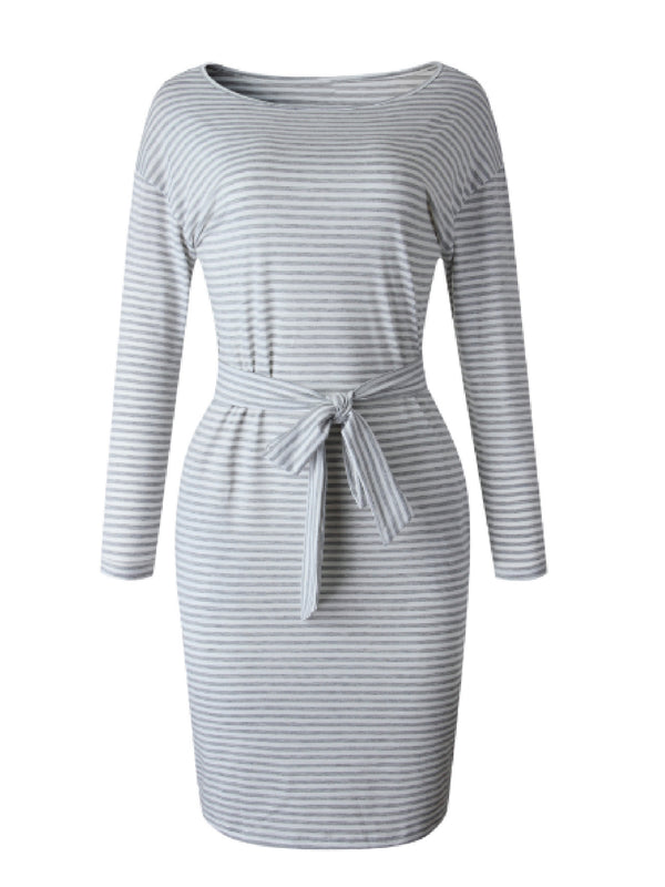 'Jose' Striped Tied Waist Jersey Dress (2 Colors)