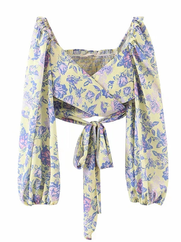 'Angela' Floral Wrap Tied Top