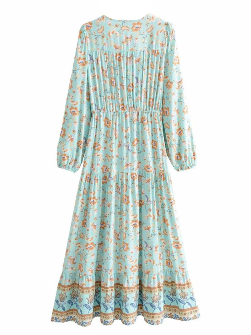 'Keira' Bohemian Floral Print V-neck Maxi Dress