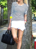 As seen on street. Casual Striped tee with neon yellow trim. Paired with White Zara skort