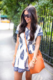 The Graphic Dress - Graphic Blue Print White Tunic