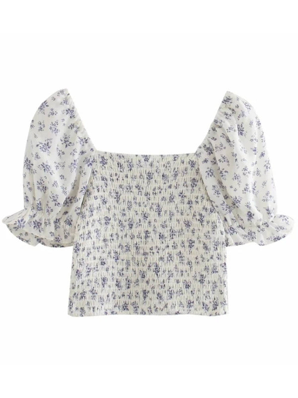 'Zoe' Floral Puff Sleeves Ruched Top