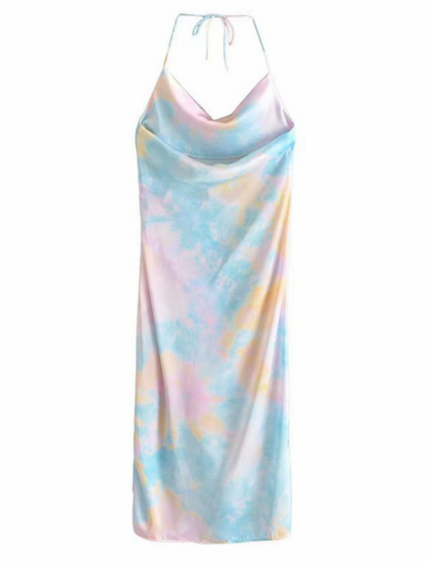 'Cabbie' Rainbow Tie-dye Side Cinched Dress