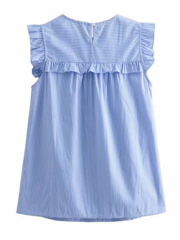 'Joey' Pinstripe Frilled Sleeveless Top