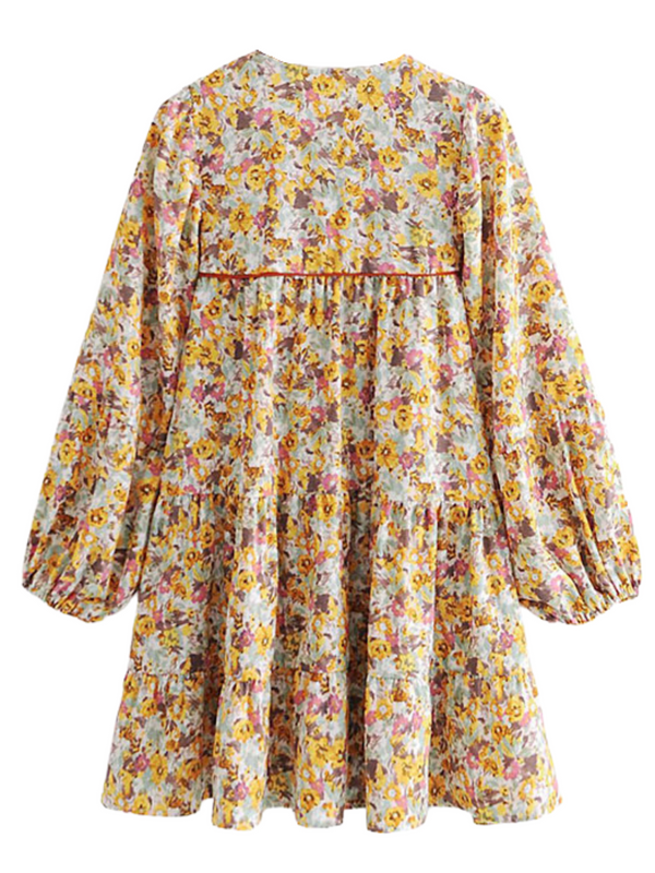 'Kimberly' Ruched Tassel Floral Dress