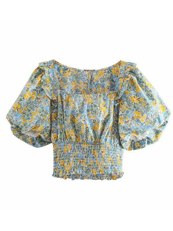 'Marvis' Floral Ruched Waist Puff Sleeves Top