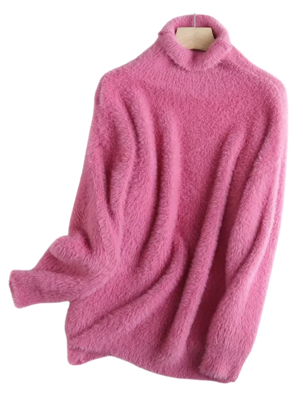 'Luna' Soft Fuzzy High-neck Sweater (3 Colors)