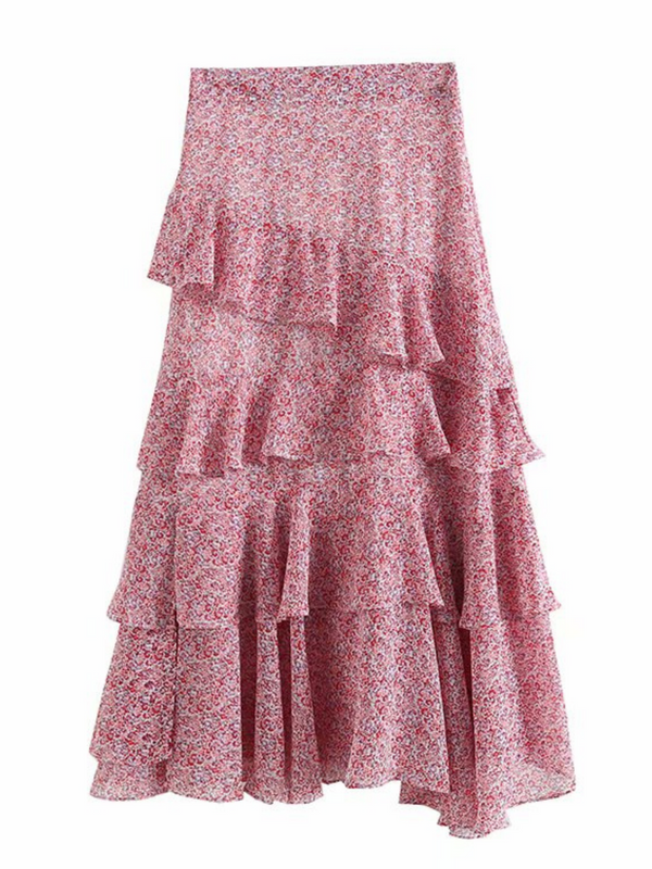 'Gloria' Floral Ruffled Midi Skirt (2 Colors)