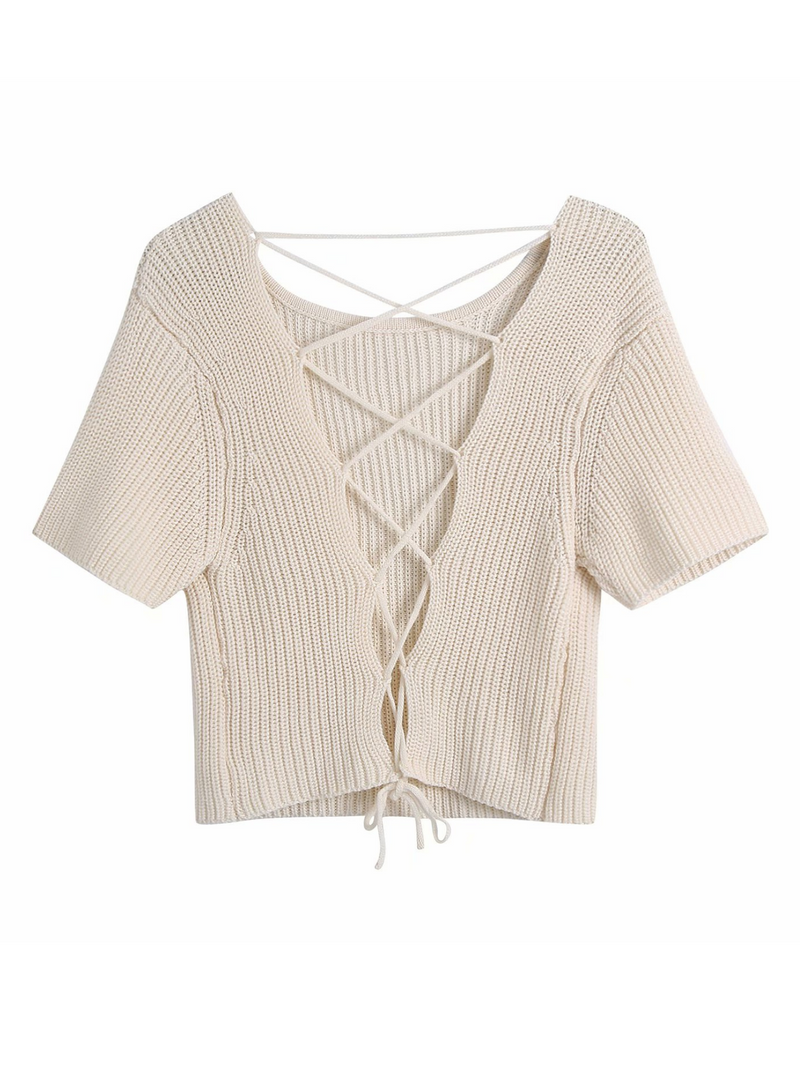'Yonex' Back Lace-up Knitted Top