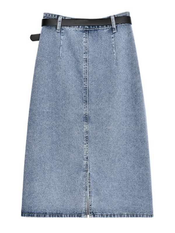 'Mollie' Belted Denim Midi Skirt