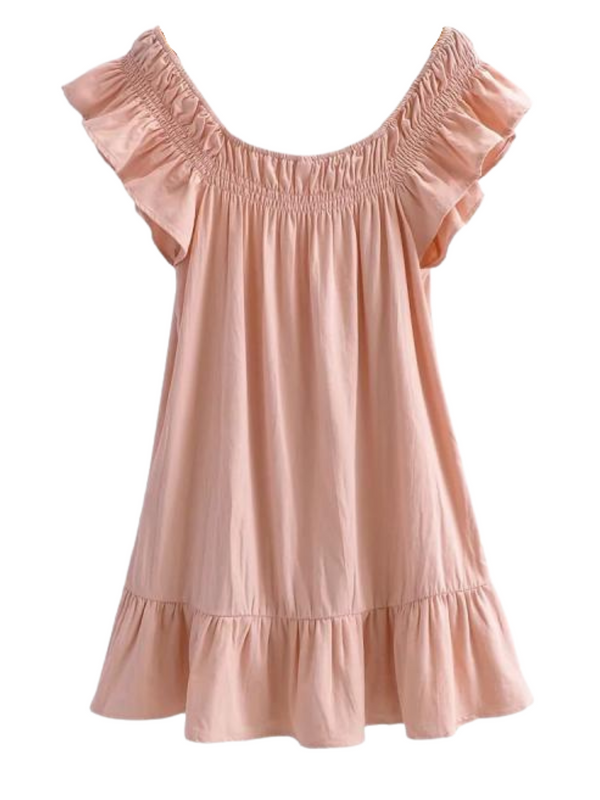 'Jacque' Ruffled Elastic Shoulder Dress