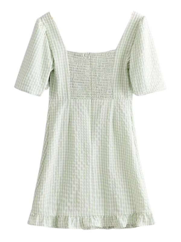 'Minnie' Square-neck Gingham Seersucker Dress
