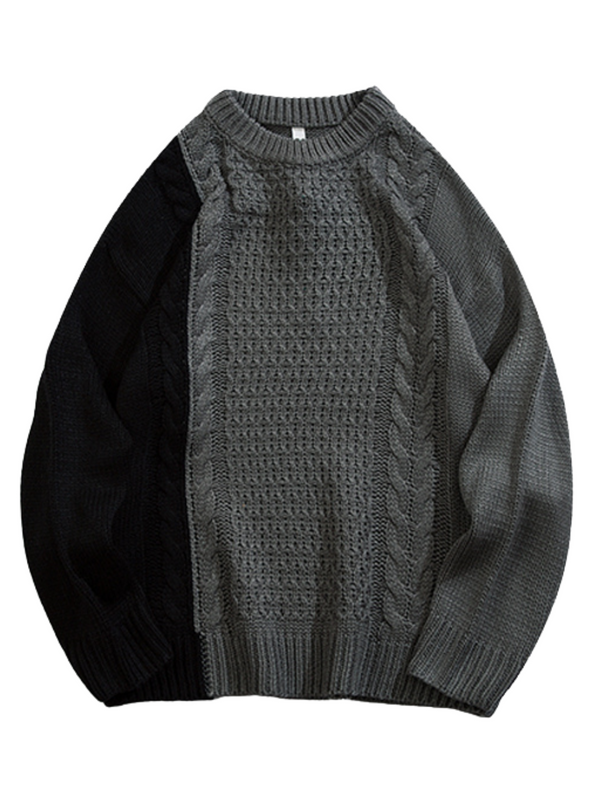 'Tommy' Oversized Cable-knit Tonal Sweater (3 Colors)