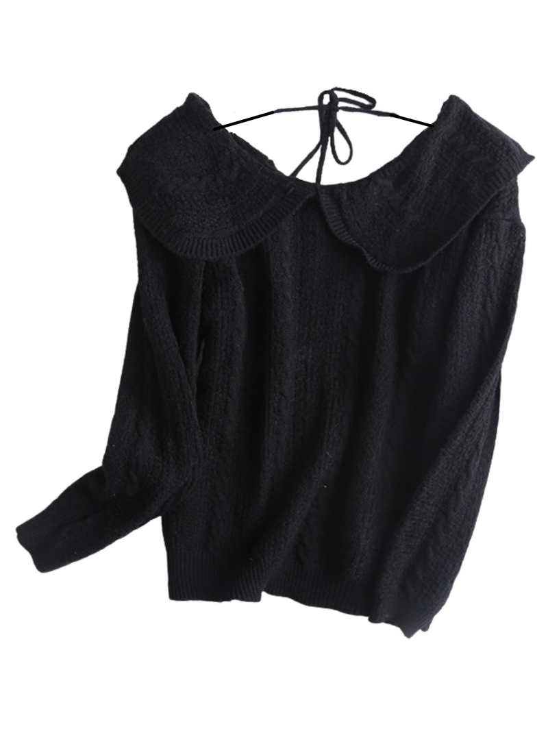 'Malissa' Back Tied Collar Sweater (3 Colors)