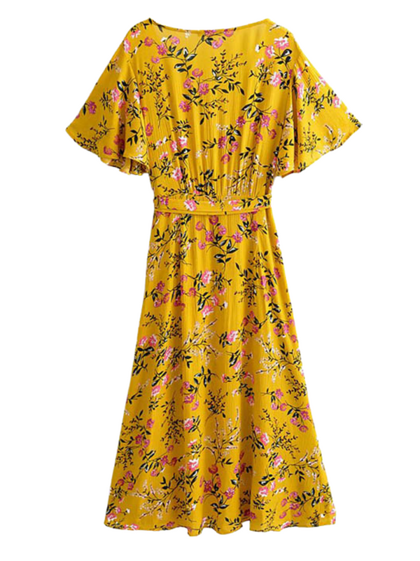 'Lesley' Floral Wrap Tied Midi Dress