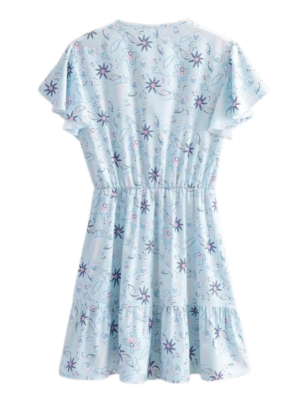 'Jobe' Floral Eyelet Ruffle Sleeves Dress