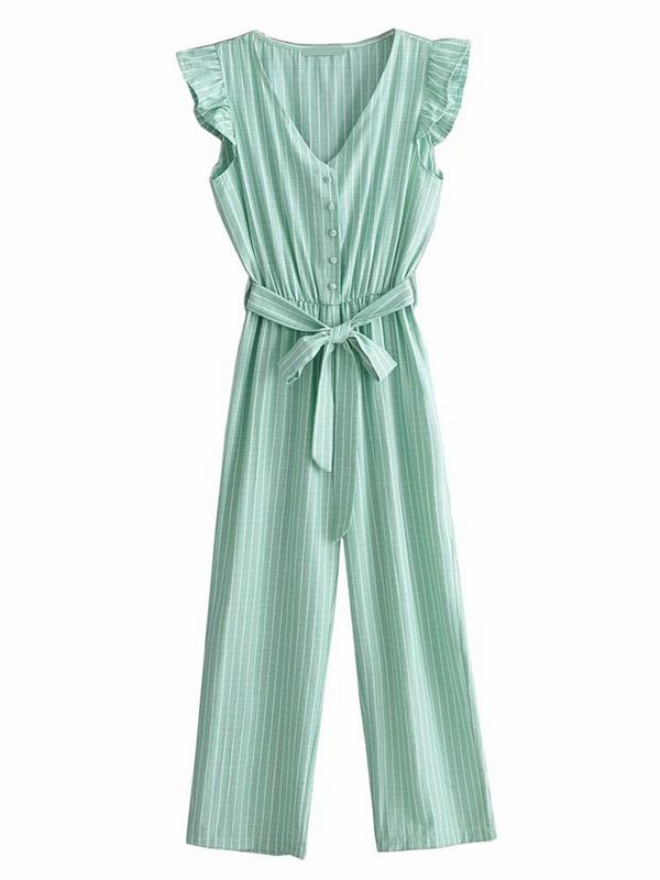 'Janily' Striped Belted Ruffled Jumpsuit (2 Colors)