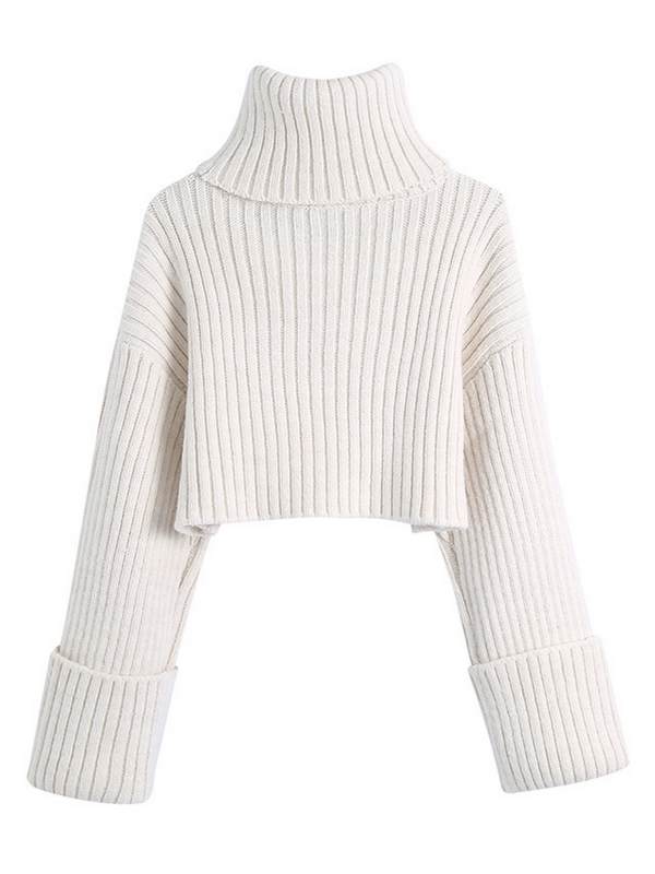 'Lisa' Turtleneck Ribbed Cropped Sweater