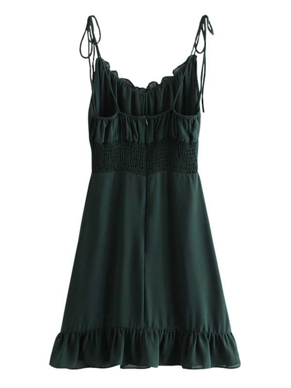 'Waiola' Tied Straps Frilled Flowy Dress