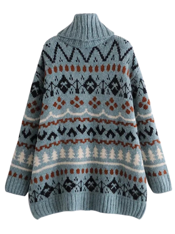 'Aga' Turtleneck Christmas Pattern Sweater
