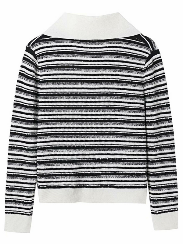 'Nancy' V-neck Polo Striped Sweater