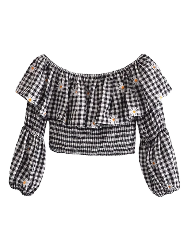'Jill' Embroidered Gingham Off Shoulder Ruffle Top