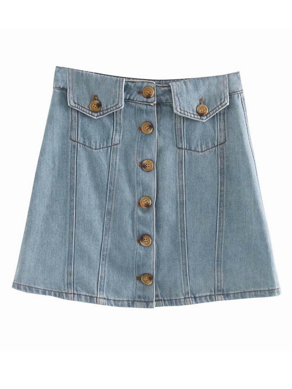 'Rosie' Pocket Buttoned Denim Skirt (2 Colors)