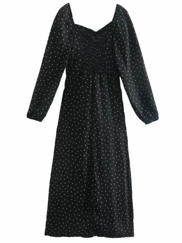 'Elsie' Square-neck Polka Dot Midi Dress